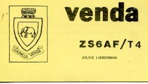 QSL de ZS6AF/T4