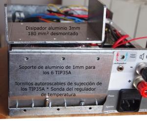 Panel trasero con el disipador desmontado